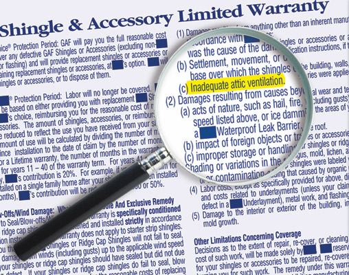 magnifying glass examining roof shingle limited warranty inadequate attic ventilation call out